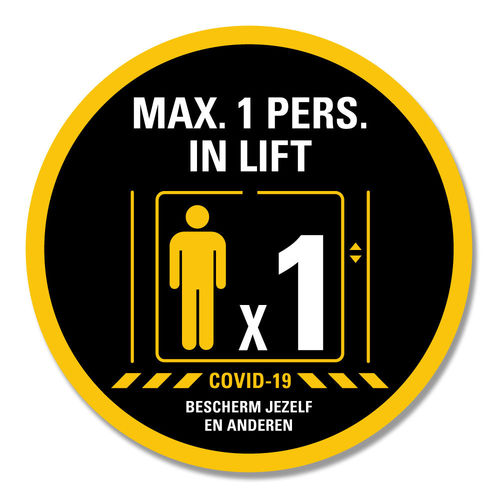 Max. 1 pers. in lift - ronde sticker -  Ø 15 cm en Ø 30 cm