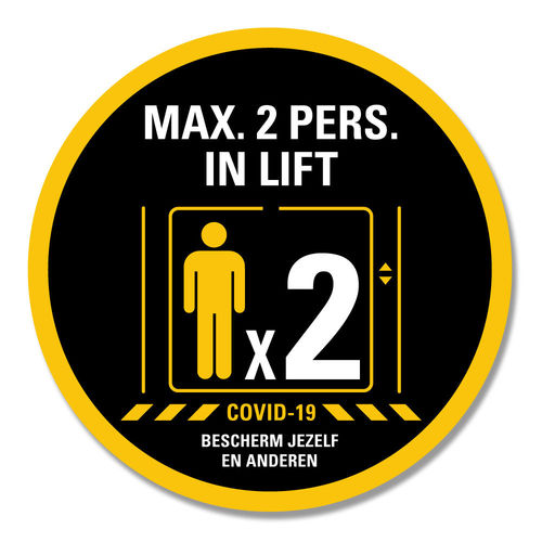 Max. 2 pers. in lift - ronde sticker -  Ø 15 cm en Ø 30 cm